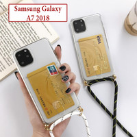 Samsung A7 2018 Soft Case Anti Crack Card Holder Casing Tali Lanyard