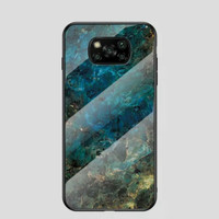 Poco X3 NFC Luxury Marmer Back Case Cover Tempered Glass