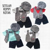 Baju Setelan Pesta Anak Bayi Laki Kaos Rompi Kotak Pendek Dasi Topi