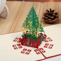 Kartu Natal 3D Pop Up Christmas Greeting Card Merry Xmas Tree Ucapan