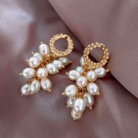 anting fashion natural pearl drop earrings jan221