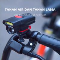 Lampu Depan Sepeda LED Terang Baterai AAA Box Original Include Braket