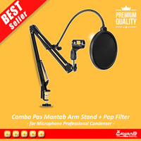 Combo Pas Mantab Arm Stand with Pop Filter for Mic Bm-800 Bm-8000