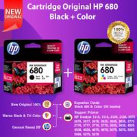 SET Cartridge HP 680 Black F6V27AA Color F6V26AA Tinta 2135 2676 1115