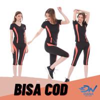 Baju olahraga senam wanita lengan pendek dan celana panjang senam - S