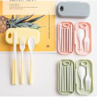 Sendok set travel, set peralatan makan lipat, sendok garpu sumpit baru