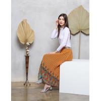 (COD) Rok Panjang Plisket Premium Terbaru motif 19 - Orange
