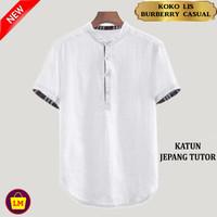 LM 16134-16140 Baju Koko Pria Terbaru Koko Muslim LIS BRBRY CASUAL - Putih, M