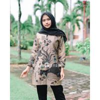 Blouse Batik Wanita kasual motif bunga Lengan Panjang Lapis Furing