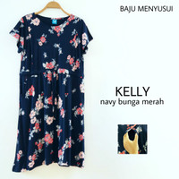 MAMIGAYA Nursing Wear - KELLY | Dress Menyusui | Baju ASI