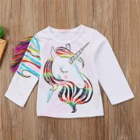 Kaos unicorn rainbow anak import lengan panjang putih katun baju unico