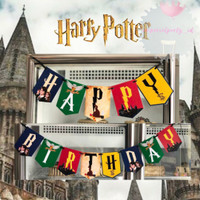 Banner Bunting Flag Happy Birthday HBD Harry Potter Ron Hermione