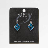 Anting Wanita Marine Opal Diamond with V Blue Paua Earrings