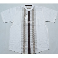 Baju Koko Pria Lengan Pendek COLE Putih Motif Coklat COC 52 ORIGINAL