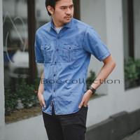 Kemeja jeans lengan pendek termurah - jeans denim pria kemeja jeans - foto ke-3, M