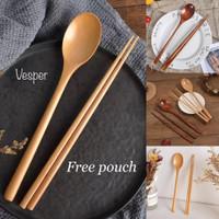 Sendok sumpit kayu korea / sujeo set / long spoon wooden cutlery