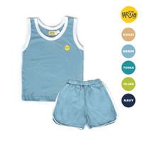 KAOS SINGLET ANAK KUTANG setelan baju rumah HANLET BIRU 1-10 tahun