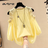 baju wanita import blouse korea Model Off-Shoulder longgar bahan sifon