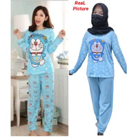 Baju tidur wanita pp DORAEMON / Piyama katun kaos dewasa panjang