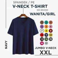 (promo) xxl kaos polos wanita V-neck
