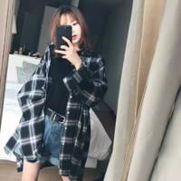 Baju wanita Retro Korea kemeja kotak-kotak Jaket lengan panjang Atasan
