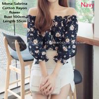 Baju Sabrina Wanita Terbaru Blouse Wanita Hits Mona Flow Fit S - XL