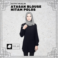 Fashion Baju Atasan Muslim Wanita Blouse Wanita Warna Hitam Polos