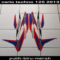 Striping sticker lis honda vario techno 125 fi thn 2013 putih biru mer