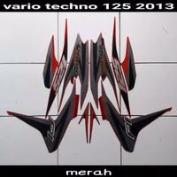 Striping sticker lis body honda vario techno 125 old fi 2013 merah