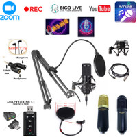 Paket Mic Condenser BM 800 Stand Arm Pop filter Usb Soundcard