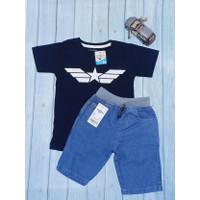 COD Baju Stelan Anak Laki Laki Kaos Karakter Distro Jeans Pendek Rib