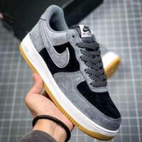 Sepatu Nike Air Force 1 Low Suede Grey Black - Premium Import
