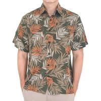 Kemeja Pria Motif Basil Moss Holiday Shirt Hijau Lengan Pendek