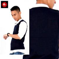 Okechuku Rompi Rajut Navy Polos / Knit Vest Seragam Sekolah / Kantor
