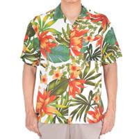 Kemeja Pria Motif Orange Flowers Holiday Shirt Putih Lengan Pendek - M