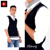 Okechuku Knit Vest / Rompi Rajut Dewasa Navy List Putih