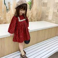 dress anak perempuan red flower lengan panjang