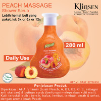 Klinsen Shower Scrub Peach Massage 280ml - Sabun Mandi Cair