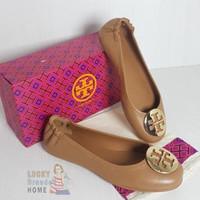 Sepatu TORY BURCH Minnie Travel Ballet Flats Royal Tan Shoes ORIGINAL