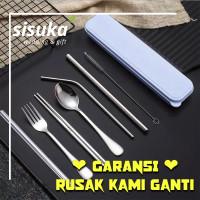 Alat Makan Korea Premium Stainless Sendok Sumpit Garpu Sujeo Pipet A3 - SENDOK PREMIUM, pita aja
