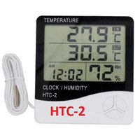 HTC-2 Thermometer Suhu Hygrometer Clock Temperature Humidity HTC-2