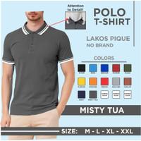 kaos polo shirt pria / kaos seragam polos / kerak list m l xl xxl