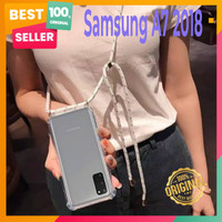 Samsung A7 2018 Soft Case Anti Crack Casing With Sling Lanyard Tali