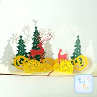 Pop Up Card Natal Rusa Pohon Santa 3D Kartu Ucapan Christmast Unik 4D