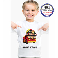 Kaos Anak Robocar Poli Free Cetak Nama - Putih, S