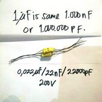 siderealkaps auricap kapasitor 0.022uf / 22nF / 22000pF 200V - 1 pcs