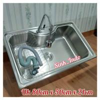 bak cuci piring stainless 1 lubang Kitchen Sink westafel cuci 80cm