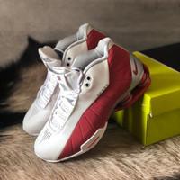 Sepatu Cowok - NIKE SHOX BB4 - White Red - 43
