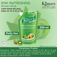 Klinsen Shower Scrub Kiwi Refreshing 500ml - Sabun Mandi Cair