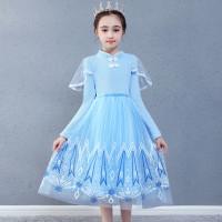 Dress cheongsam anak lengan panjang princess frozen elsa import 4T-8T
